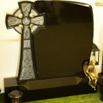 Headstone Black granite celtic cross