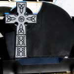Headstone Black Granite Cross IHS detail