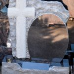 Headstone Black Granite cross boulder