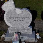 Bear, heart grey granite, child memorial