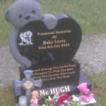 Bear, heart headstone, child memorial