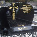 Black granite celtic cross with celtic knot gold detail