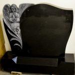 Headstone Black Granite Angel detail