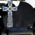Headstone Black Granite Cross IHS detail