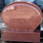 Headstone Red granite curved