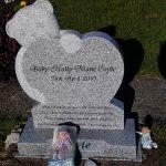Bear, heart grey granite, child memorial